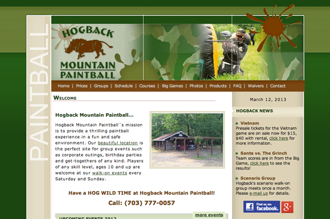 Hogback Mountain Paintball site layout